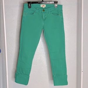 Current/Elliot cuffed ankle crops green size 0